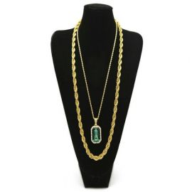 Green Stone Pendant With Punk Chain Necklace Set