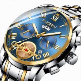 Fngeen Blue Double Calendar Business Waterproof Quartz Men's Watch - Silver & Gold