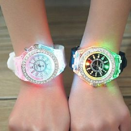 Geneva 2 Pieces Of Couple Luminous Led Wrist Watch