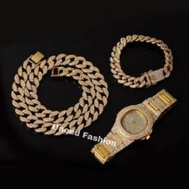 Gold Wristwatch + Cuban Necklace And Hand Chain