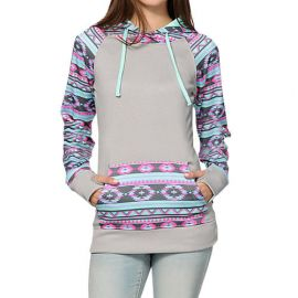 BL Fashionable Leisure Geometric Print Hooded Long Sleeves Sweat Top