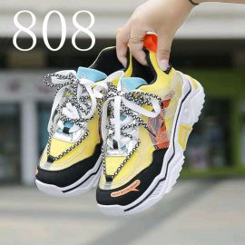 Ladies High-Sole Lace Up Sneakers - Yellow Multi