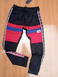 Men Checkered Joggers - Black/Red Multi