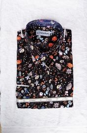 Greator Trendy Floral Pattern Longsleeve Shirt - Black