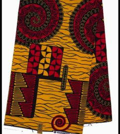 African Print Fabric - Yellow/Red