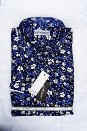 Greator Floral Longsleeve Cooperate Shirt - Navyblue/White