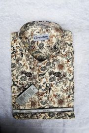 Greator Floral Longsleeve Cooperate Shirt - Cream/Black Multi