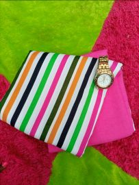 Multicolor Striped Plain and Pattern Fabric
