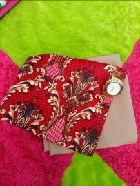 Red Floral Plain and Pattern Fabric
