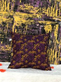 Multicolored Fabric Throw Pillow - Purple Multi