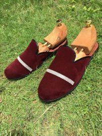 Burgundy Suede Half Shoe With Trimmings