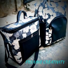 Floral Print School Bag With Lunch Bag