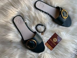 Womens Belted Gold Detailing Slippers